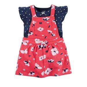 Carter's floral jumper dress and bodysuit set